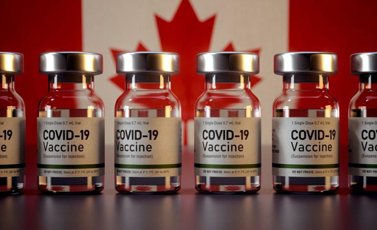 Corona Vaccines / Covid Vaccine Ampules / Vaccination in Canada Flag